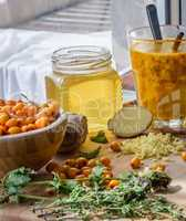 hot cocktail recipe with sea buckthorn and honey strengthens immune system