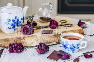 Cup of tea with chocolate