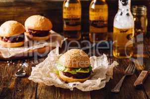 Burgers with Bottles of Lager.