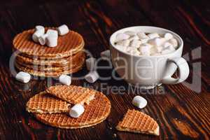 Dutch Waffles with Coffee and Marshmallow.