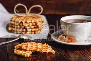 Breakfast with Waffle and Cup of Tea.