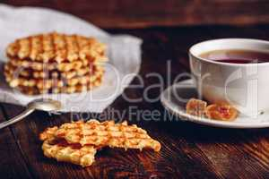 Breakfast with Cup of Tea and Waffles.
