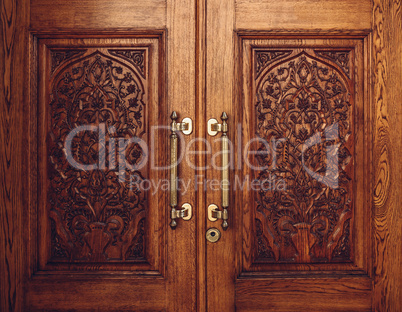 Wooden Door Carved with Floral Ornament