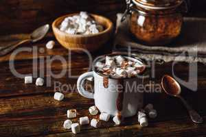 Metal Mug of Cocoa with Marshmallows.