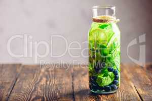 Bottle of Water with Lime, Mint and Blueberry.