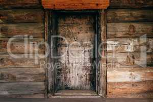 Old Wooden Wall with Door.