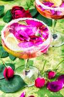 Low alcohol cocktail with rose