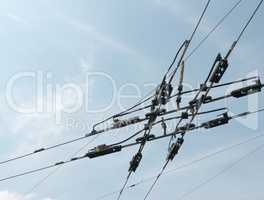 tramway network wire crossing on sky background