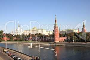 Kremlin tower,  quay and river