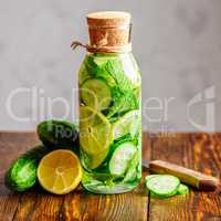 Drink with Lemon, Cucumber and Mint.