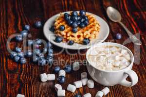 Cocoa with Marshmallow and Waffles with Blueberry.