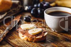 Breakfast with Fruit Sandwich and Coffee.