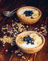 Two Bowl of Muesli with Banana and Blueberry.