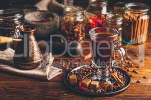 Cup of Coffee with Cezve and Different Spices.