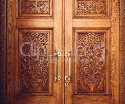 Wooden Door Decorated with Ornament