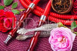 Oriental hookah with rose scent