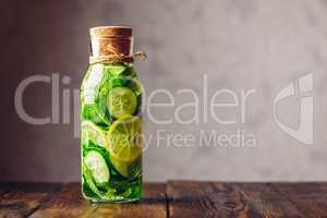 Water Infused with Lemon, Cucumber and Mint.