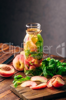 Flavored Water with Peach and Basil.