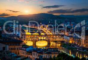 Cityscape and bridges of Florence