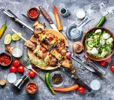 Grilled meat skewers or shish kebab