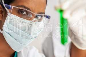 Asian Female Scientist Medical Research Lab with Test Tube of Gr