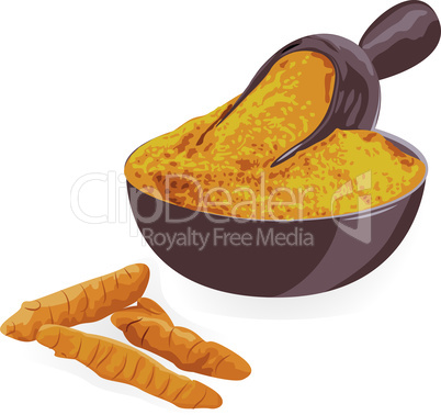 Turmeric roots and powder in a bowl on a white background