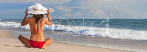Panorama Banner Beautiful Woman At Beach in Hat and Bikini