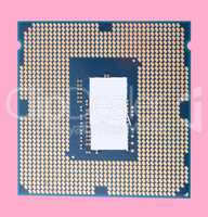 central Processor unit isolated on pink background at dry sunny