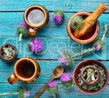 Herbal tea wih milk thistle