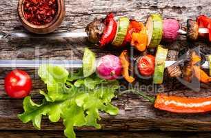 Skewers of grilled vegetables