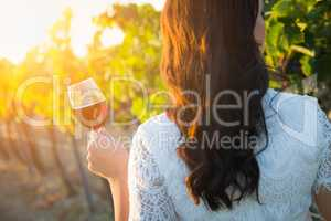 Young Adult Woman Enjoying Glass of Wine Beautiful Young Adult Woman Admiring Grapes Walking in the Vineyard