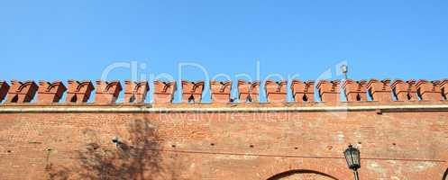 Kremlin wall on sky background