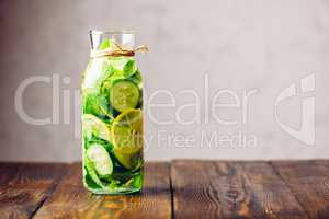 Detox Water Infused with Lemon, Cucumber and Mint.