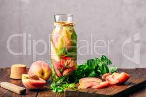 Infused Water with Peach and Basil.