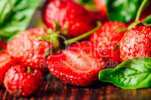 Strawberry and Basil Background.