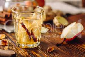 Glass of Water with Pear, Cinnamon and Ginger.
