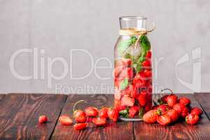 Infused Water with Strawberry and Basil.