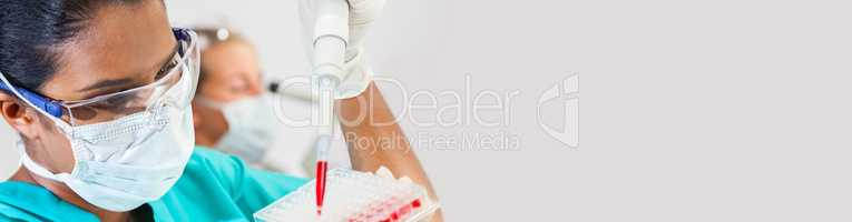 Asian Female Scientist Pipette Blood Sample in Medical Research