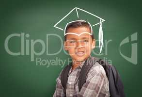 Young Hispanic Student Boy Wearing Backpack Front Of Chalk Board