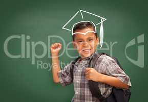 Young Hispanic Student Boy Wearing Backpack by a Chalk Board