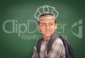 Young Hispanic Student Boy Wearing Backpack Front Of Blackboard