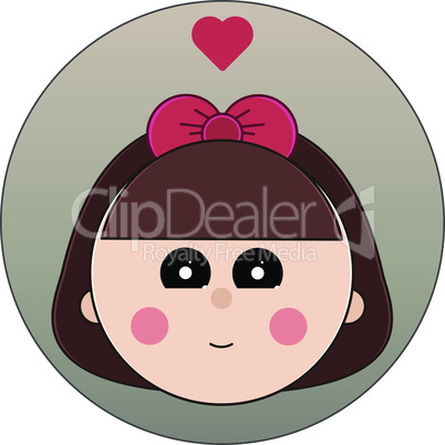 Kid face sticker isolated on white background. Girl with heart over head.