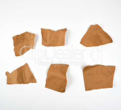 torn brown pieces of parchment paper on a white background