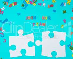 paper blank white puzzle on a blue background,  inscription join