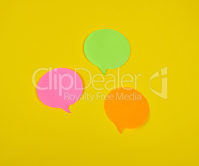paper sticky cloud-shaped stickers on a yellow background