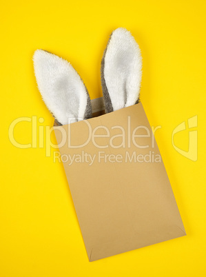 brown craft envelope with protruding bunny ears out of it