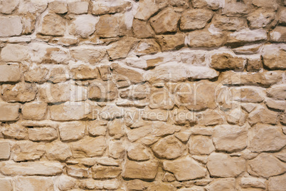 Old and Weathered Stone Wall.