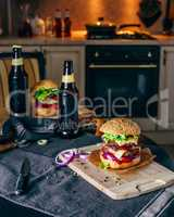 Dinner with Cheeseburger and Some Beer.
