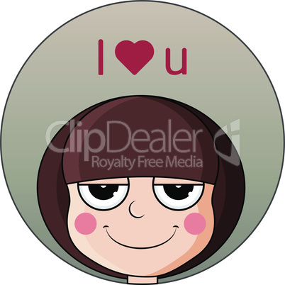 Head of cute girl with heart over head. Smug expression. I love you.