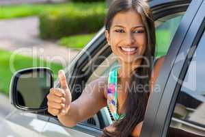 Indian Asian Young Woman Girl Thumbs Up Driving Car Smiling